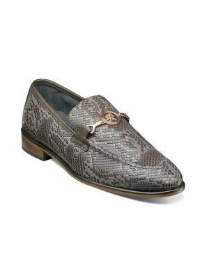 Stacy Adams Barrino Leather Sole Moc Toe Bit Loafer in Gray (25364-020)